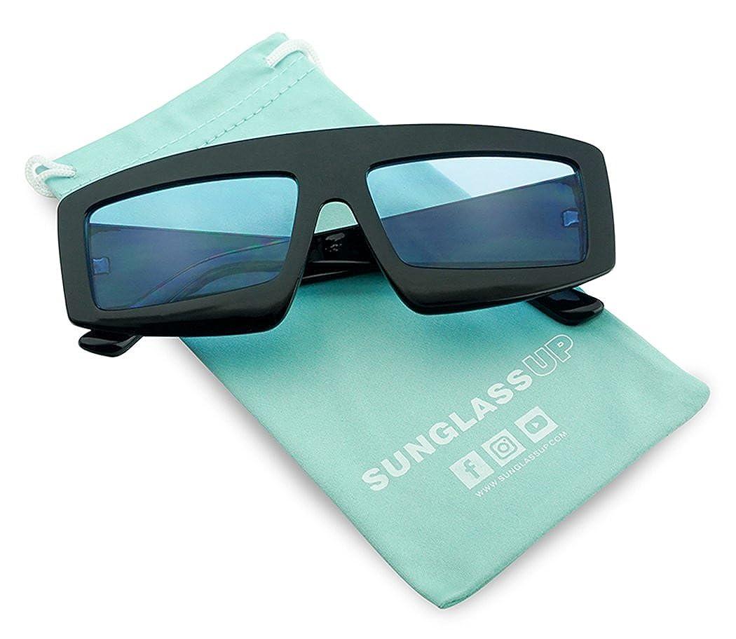 78453641a7 Amazon.com  SunglassUP Extra Bold Rectangular Colored Lens Block Shield Frame  Sunglasses (Black Frame