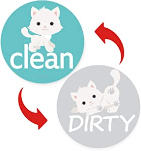 Clean Dirty Dishwasher Magnet Sign - Round Large Cute Dog Dishwasher Magnet Sign Waterproof And Double Sided Flip With Bonus Metal Plate,Funny Reversible Indicator Perfect For Home Kitchen Dishwasher