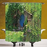 Durable Shower Curtain 3.0 [Hobbits,Fantasy Hobbit Land House in Magical Overhill Woods Movie Scene New Zealand,Green Brown Blue] Machine Washable,Shower Hooks are Included