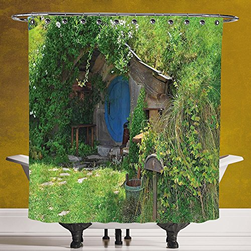 Do It Yourself Girl Halloween Costumes (Durable Shower Curtain 3.0 [Hobbits,Fantasy Hobbit Land House in Magical Overhill Woods Movie Scene New Zealand,Green Brown Blue] Machine Washable,Shower Hooks are Included)