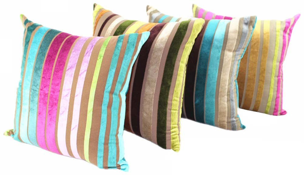 YJ Bear Colorful Striped Panne Velvet Pillow European Vintage Soft Cushion Standard Size Cushion Decorative Body Cushion With Invisible Zipper Blue 22 X 22
