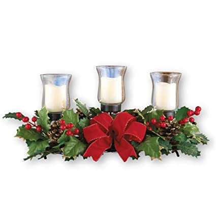 Amazon.com: Collections Etc Holly Christmas Centerpiece w/Candle ...
