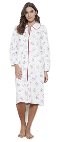 64cb07f1ca Cottonreal Deluxe Bouquet Floral C0-Quilted Claudet Zip Front Dressing Gown  - Raspberry (XS