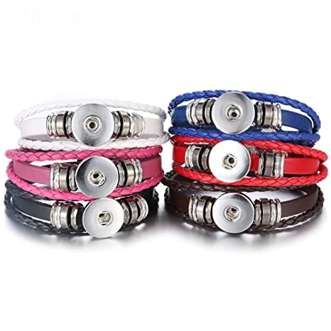 5a9765aa31 Lovglisten 6pcs Leather Bracelet Bangle for 18mm Snap Button Jewelry