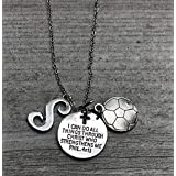 Personalized Soccer Christian Necklace, Faith I Can Do All Things Through Christ Who Strengthens Me Phil. 4:13 Pendent, Scripture Jewelry Christian Gifts Verse Bible Gift For Women and Girls