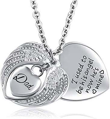 Amazon Com Jesse Ortega Angel Wing Urn Necklace For Ashes Mom Dad Grandma Cremation Jewelry Keepsake Memorial Pendant I Used To Be His Angel Now He S Mine Jewelry