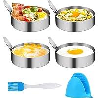 4/6 Pack Egg Ring,Egg Mold Ring Non Stick Stainless Steel 3.5Inch Egg Mold Egg Rings for Frying Eggs Pancake Sandwich…