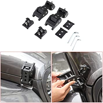 TOAPCAYR Aluminum Alloy Hood Latches Stainlese Steel Hood Catch Kit Hood Locks fit 2007-2018 JK JKU 2018-2020 JL JLU JT Jeep Wrangler Unlimited Sports Sahara Freedom Rubicon Gladiator 2//4 Door
