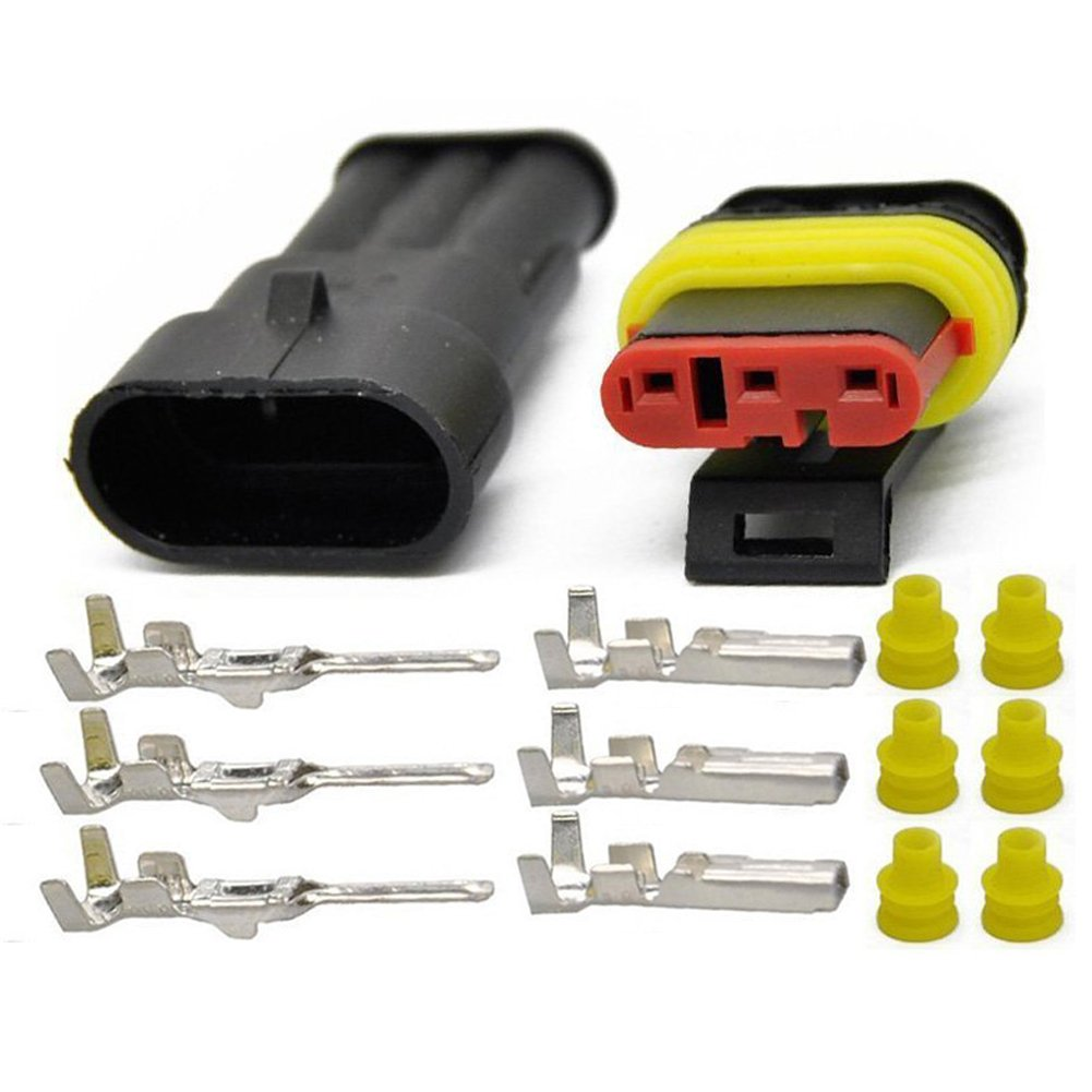 Yellow Seal Insert 1.5mm Series Terminals Heat Shrink Quick Locking Wire Harness Sockets HIFROM 1//2//3//4//5//6 Pin Way 20-16 AWG Waterproof Electrical Connector