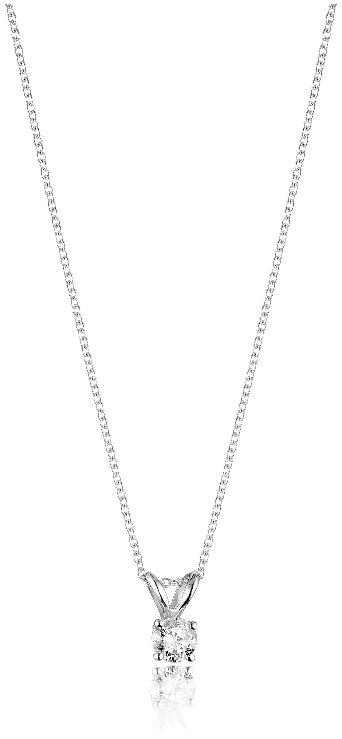 14k White Gold 16'' Adjustable to 18'' 4-Prong Set Round-Cut Diamond Pendant (1/3 cttw, J-K Color, I2-I3 Clarity)