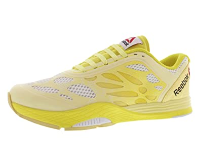 1c8bcefd297e7 Reebok Womens Studio LM Les Mills Cardio Ultra Dance Shoes in White Yellow  Filament Size
