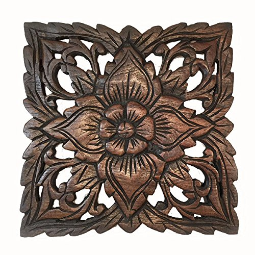 Plaque Asian Wall Plaque - Square Wood Carved Wall Plaque. Oriental Carved Lotus. Size 9.5