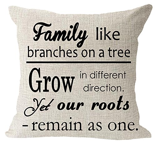 Family Tree Throw (Saying family like branches on a tree grow in different direction yet our roots remain as one Cotton Linen Square Throw Waist Pillow Case Decorative Cushion Cover Pillowcase Sofa 18