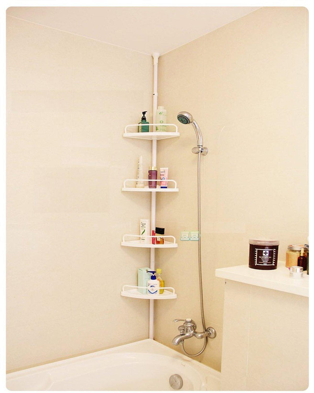 Shelf for bathroom - Bsl Shower Caddy Hanging Telescopic Corner White Shelf Kitchen Bathroom Storage Unit Towel 4 Tier Amazon Co Uk Kitchen Home