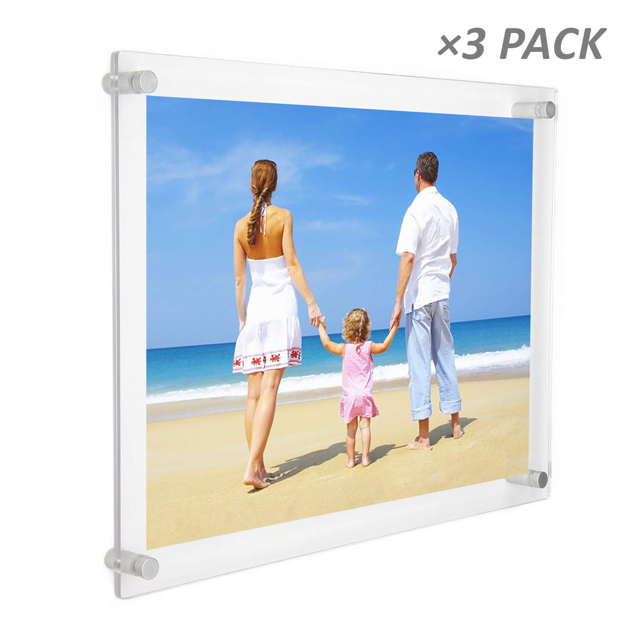 NIUBEE 3Pack 8.5x11 Clear Acrylic Wall Mount Picture Frame Floating Frames for Photography Display NBPN-862K