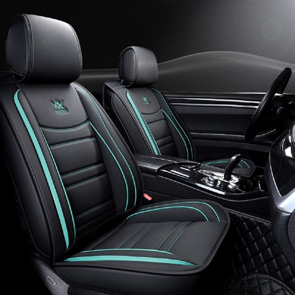 Amazon Com Outos Luxury Leather Auto Car Seat Covers 5 Seats Full Set Universal Fit Black Blue Automotive