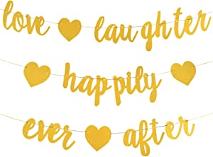 3Pcs Gold Glitter Love Laughter and Happily Ever After Banner - Engagement Party Decorations - Wedding Shower Decorations, Bridal Shower Decor, Wedding Banner & Bachelorette Party Signs (Pre-Strung)