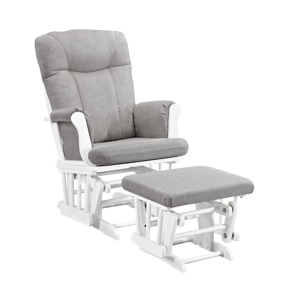 Exceptionnel Amazon.com: Angel Line Monterey Glider U0026 Ottoman, White With Gray Cushion:  Baby