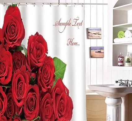 Cortina de ducha de baño impermeable anti-moho poliéster 3D Digital impresión rosa roja ,