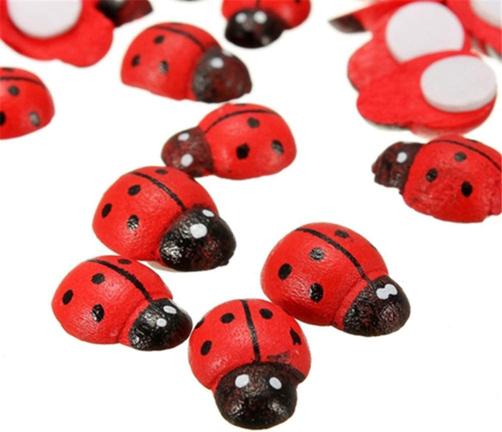 STOBOK 100Pcs Mini Wooden Ladybugs Stickers Wooden Ladybugs Self-Adhesive Embellishments for Craft Scrapbooking Home Decoration