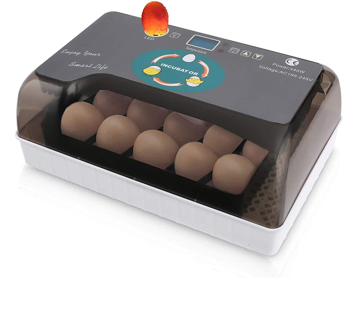 Incubadora Automática de Huevos con Pantalla y Luz de LED Inversión Automática y Control Eficiente e Inteligente de Temperatura y Humedad (12 huevos+LED)