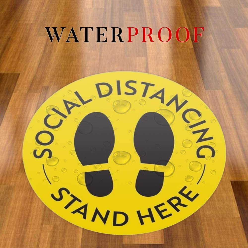 12 Pack Arrow Social Distancing Floor Stickers TAOPE One Way Decals Round Adhesive Anti-Slip Safety Signs Blue Marker for Crowd Control Guidance Businesses Restaurants Bank Hospitals Supermarket