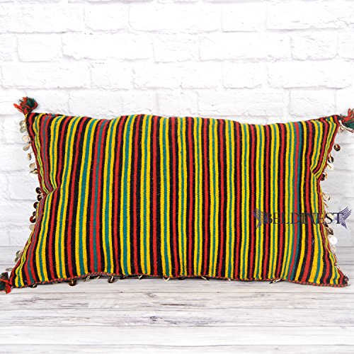Red Kilim Pillow with Large Decorative Sequins in One Side, Colorful Striped in the Back, Stuffed Decorative Multicolor Kilim Pillow, Colorful Kilim Pillow
