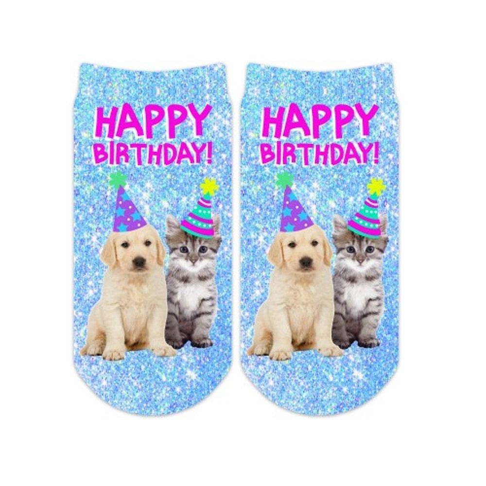 Sublime Designs SD06-BDA-HBA Happy Birthday Animals No-Show Socks