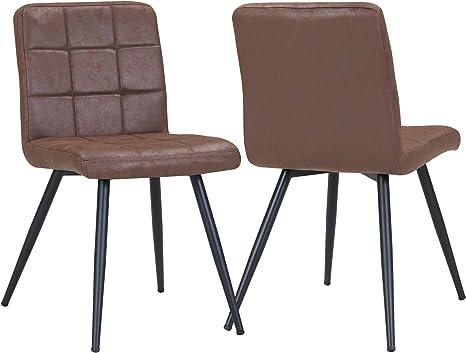 2er Set Stuhl Esszimmerstuhl Stoff Lederoptik Dunkel Braun Metallbeine