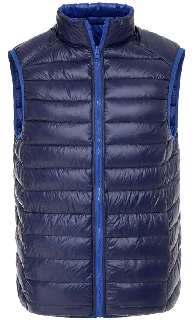 P&E Men's Warm Quilted Lightweight Pocket Reversible Stand Neck Jacket Down Vest Jewelry Blue XX-L