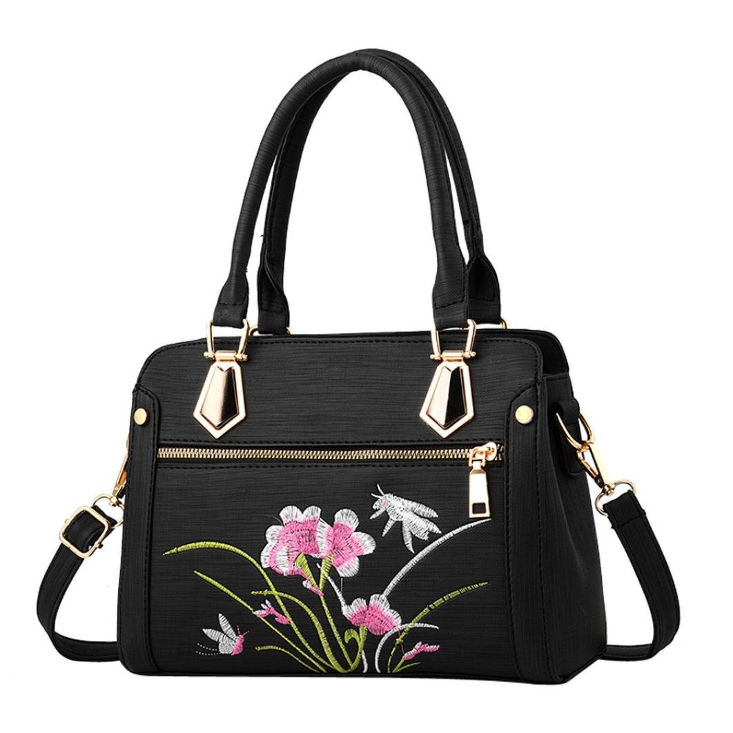 Clearance! Nevera Women Fashion Zipper Messenger Handbag Shoulder Crossbody Bags (Black)