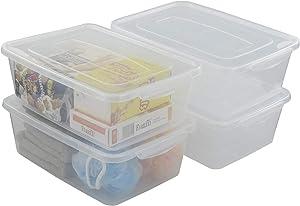 Utiao 14 Quart Plastic Storage Bins with Lid, Clear Latching Box, Set of 4