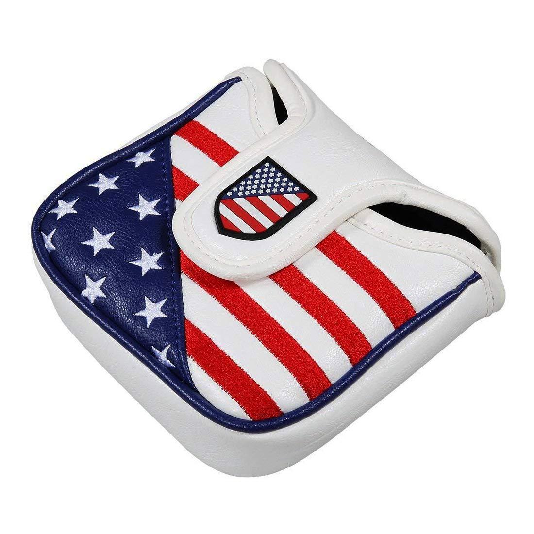 YOPRAL ゴルフ 星条旗 正方形 マレット型 マグネット開閉 ゴルフパターカバー スコッティキャメロン用 B07M8SL6R7