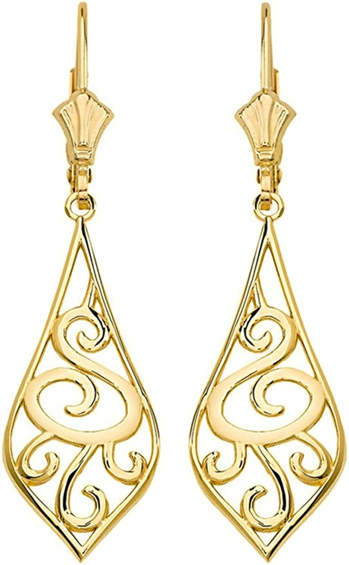 10k Yellow Gold Earrings Filigree Half Hoop Earrings