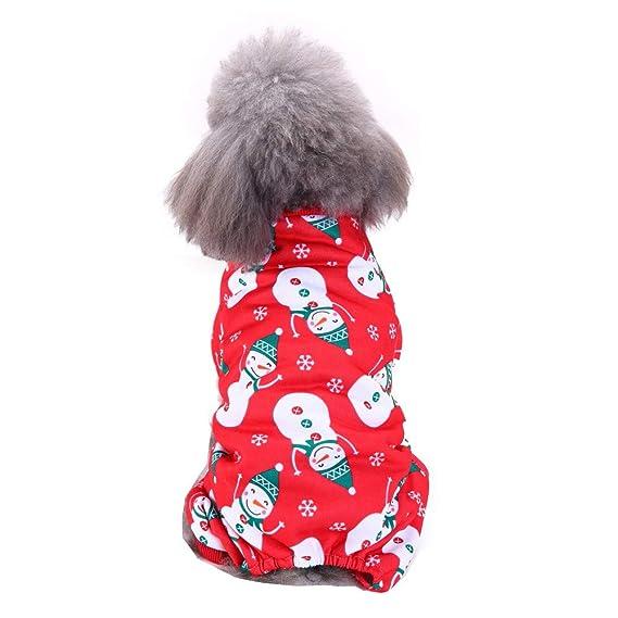 Ropa para Mascotas,Dragon868 Navidad muñeco de Nieve Impresa Rojo Ropa para Mascotas Festival Camisas: Amazon.es: Ropa y accesorios