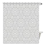 Liguo88 Custom Waterproof Bathroom Shower Curtain Polyester Taupe Decor Collection Antique Floral Motifs Arabian Islamic Art Patterns in Mod Graphic Design Oriental Boho Chic Deco Taupe Decorative ba