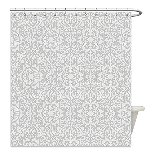 Liguo88 Custom Waterproof Bathroom Shower Curtain Polyester Taupe Decor Collection Antique Floral Motifs Arabian Islamic Art Patterns in Mod Graphic Design Oriental Boho Chic Deco Taupe Decorative ba by liguo88