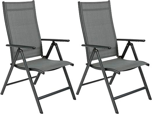 OUMAN sillón Silla de jardín plegable silla de jardín silla plegable con balcón silla de terraza de aluminio para terraza balcón Camping Festival Gris, 2 piezas: Amazon.es: Jardín