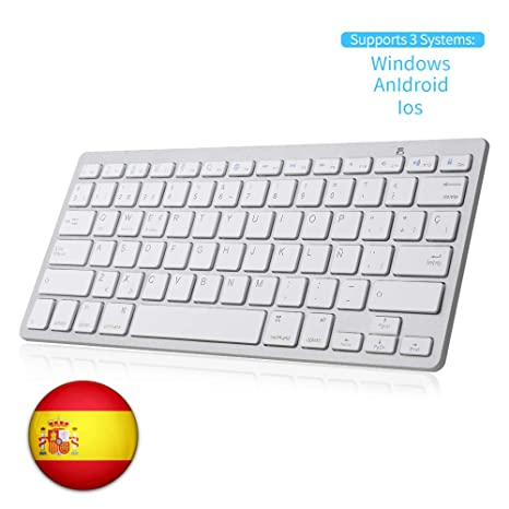 SENGBIRCH Teclado Bluetooth Español, Light Teclado Inalámbrico Portátil para iPhone de iOS, iPad,