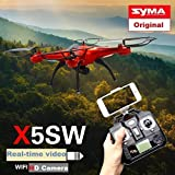 Syma X5SW Wifi FPV Real-time 2.4G Newest RC Quadcopter Drone UAV RTF UFO with 2.0MP HD Camera (better than Syma X5C) - Color Box + 4 extra main propellers + 1 Mobile phone holder
