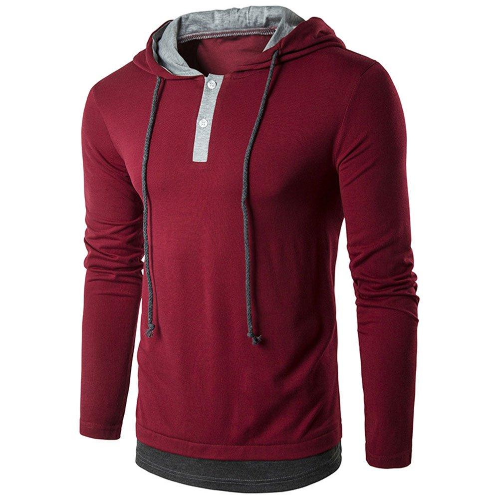 WEEN CHARM Men's Pullover Long Sleeve Hoodie Shirt Slim Fit Lightweight Hooded T-Shirt