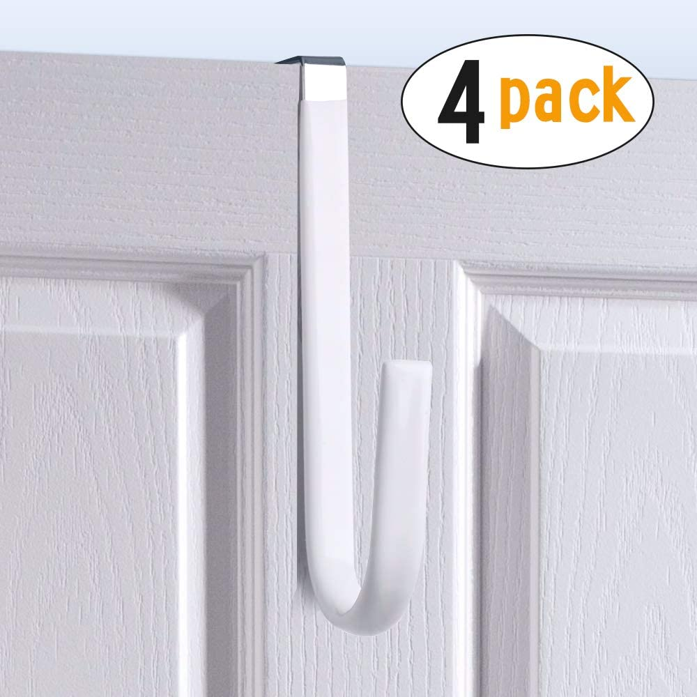Over Door Hook White - Soft Rubber Surface Design to Prevent Article Scratches,Single Door Hook for Bathroom,Kitchen,Bedroom,Cubicle,Shower Room Hanging Towel,Clothes,Pants,Shoe Bag,Coat (4pack)