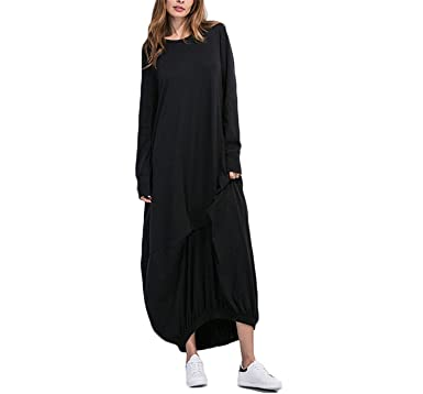 81b0113d909b B dressy Dresses for Women New Womens Clothing Black T-shirt Dress Round  Neck Long Sleeve Elastic Hem Loose Shift Dress at Amazon Women s Clothing  store