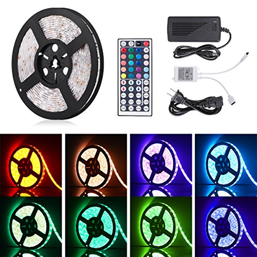 Homaz 16.4ft Flexible RGB LED Light Strip, 300 Units SMD 5050 LEDs, 12V DC Waterproof Light Strips, LED Strip Light, DIY Christmas Holiday Home Kitchen Car Bar Indoor Party Decoration