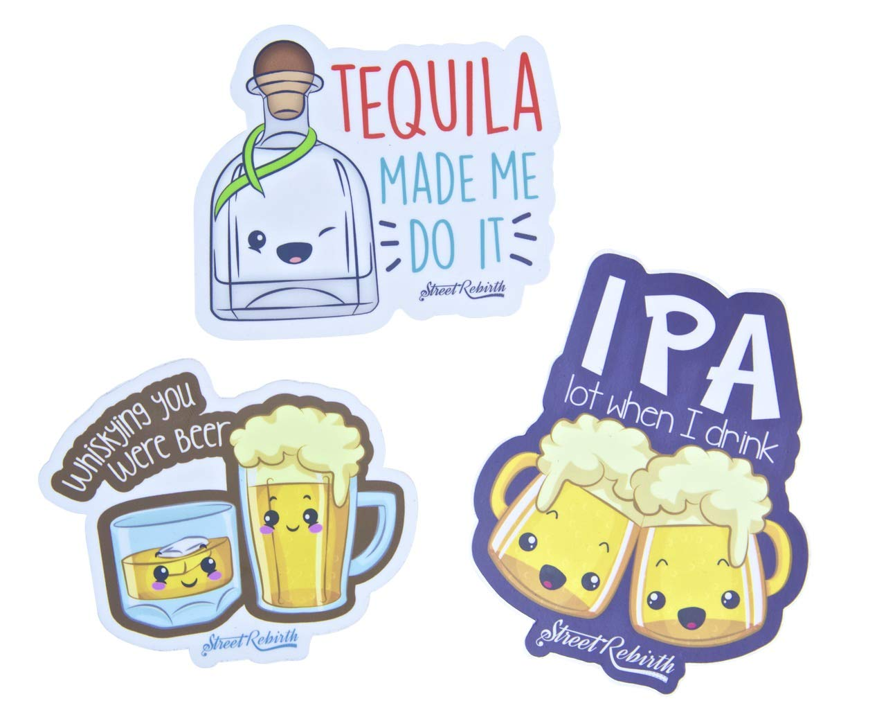 Beer Alcohol Puns Sticker Pack - Hand Drawn Vinyl Stickers - Average Size 4.5 Inches WaterProof - Decal For Cars Water Bottle Flask Skateboard Laptop etc - Party Animal Cool Decals For Kids And Adults