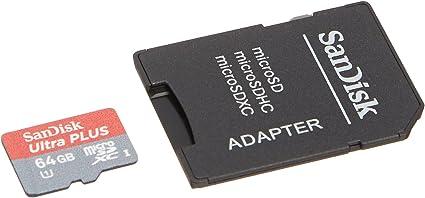Sandisk Ultra Plus 64gb Microsdxc Class 10 Uhs 1 Memory Card Computers Accessories Amazon Com