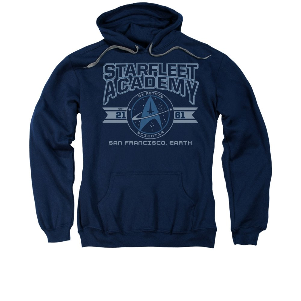 Star Trek Starfleet Academy Earth Mens Pullover Hoodie Navy MD Trevco