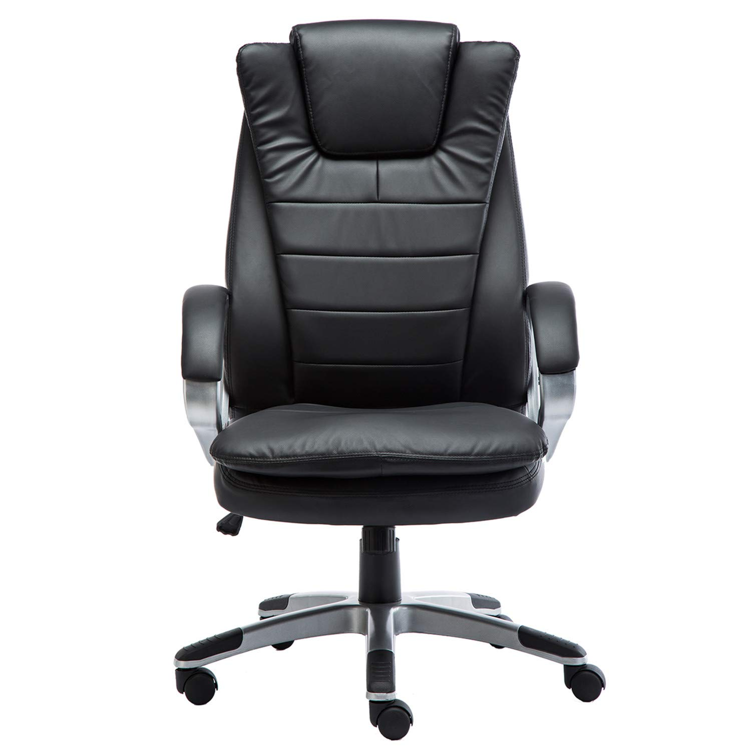 GreenForest Office Chair High Back Desk Chair PU Leather Ergonomic Computer Chair with Armrest and Lumbar Support, Black