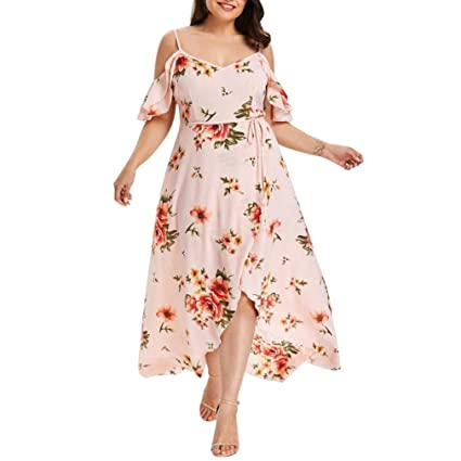 d2fdd300fd316 Women Dress Daoroka Ladies Sexy V-Neck Plus Size Casual Loose Floral Boho  Maxi Evening Party Prom Gown Skater Skirt (2XL, Pink)