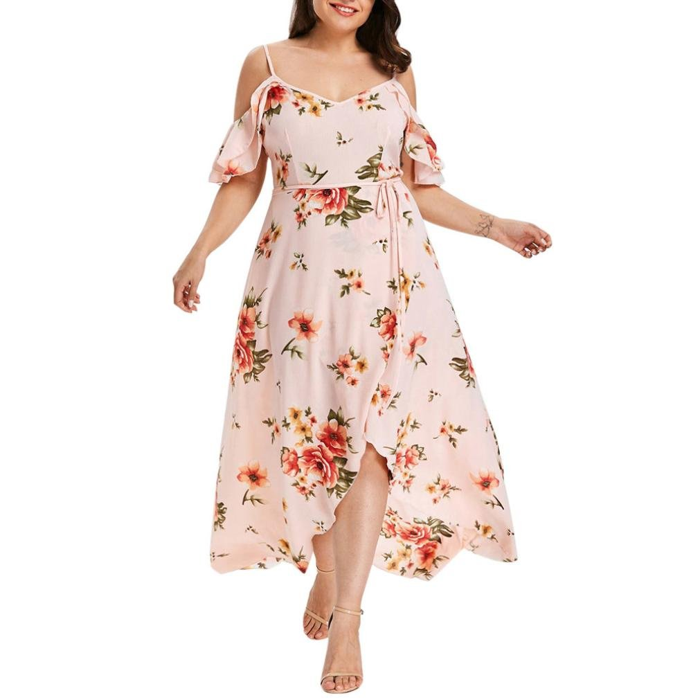 Women Dress Daoroka Ladies Sexy V-Neck Plus Size Casual Loose Floral Boho Maxi Evening Party Prom Gown Skater Skirt (XL, Pink)